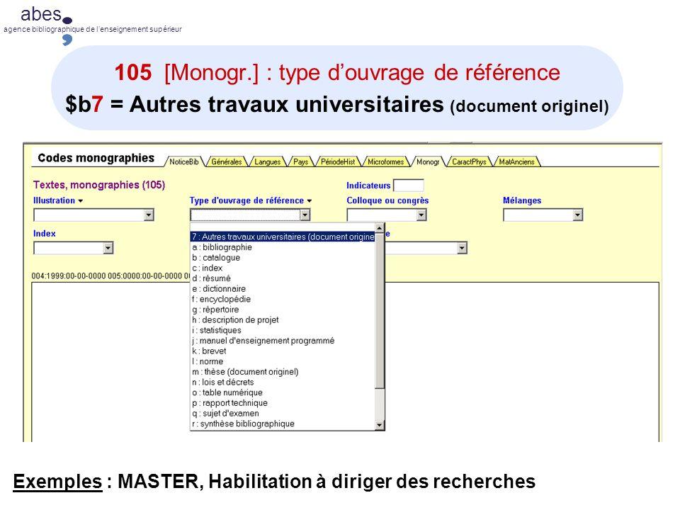 105 [Monogr.] : type d'ouvrage de référence $b7 = Autres travaux universitaires (document originel)